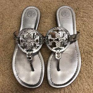 Tory burch Miller leather metallic silver sandal